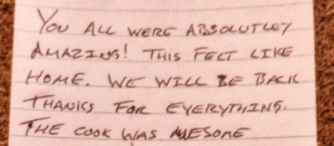 thank you note from guests