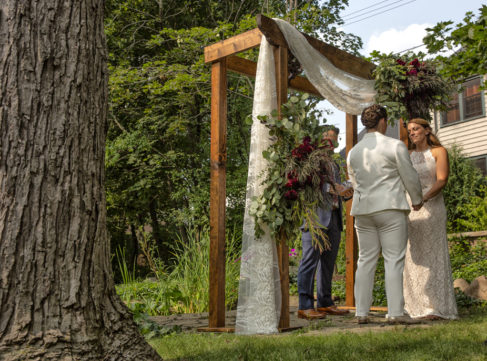 outdoor ceremony near the singing frog pond