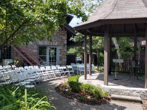 gazebo gardens set ou for a wedding ceremony