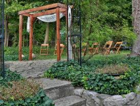 wooden wedding arch in the garden