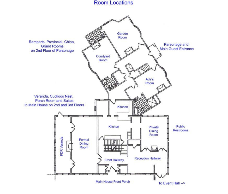 guest room locations and building layout