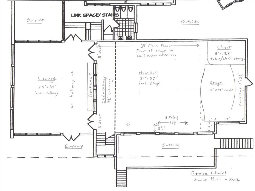 stone chalet event hall layout with room size details